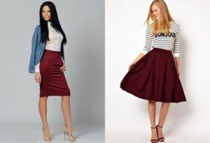 с чем комбинировать бордовую юбку