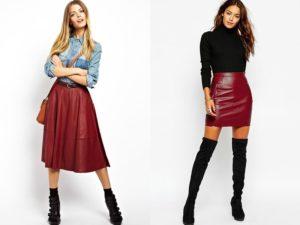 стильные образы с бордовой юбкой