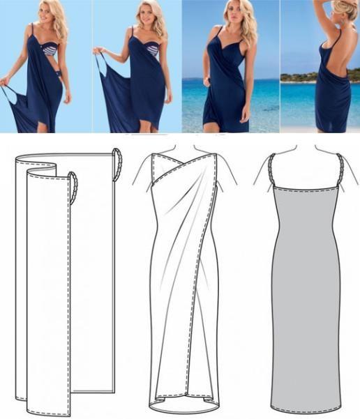 Синее платье в греческом стиле