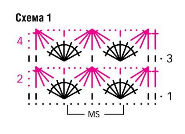 Сумка крючком схема ракушка 1