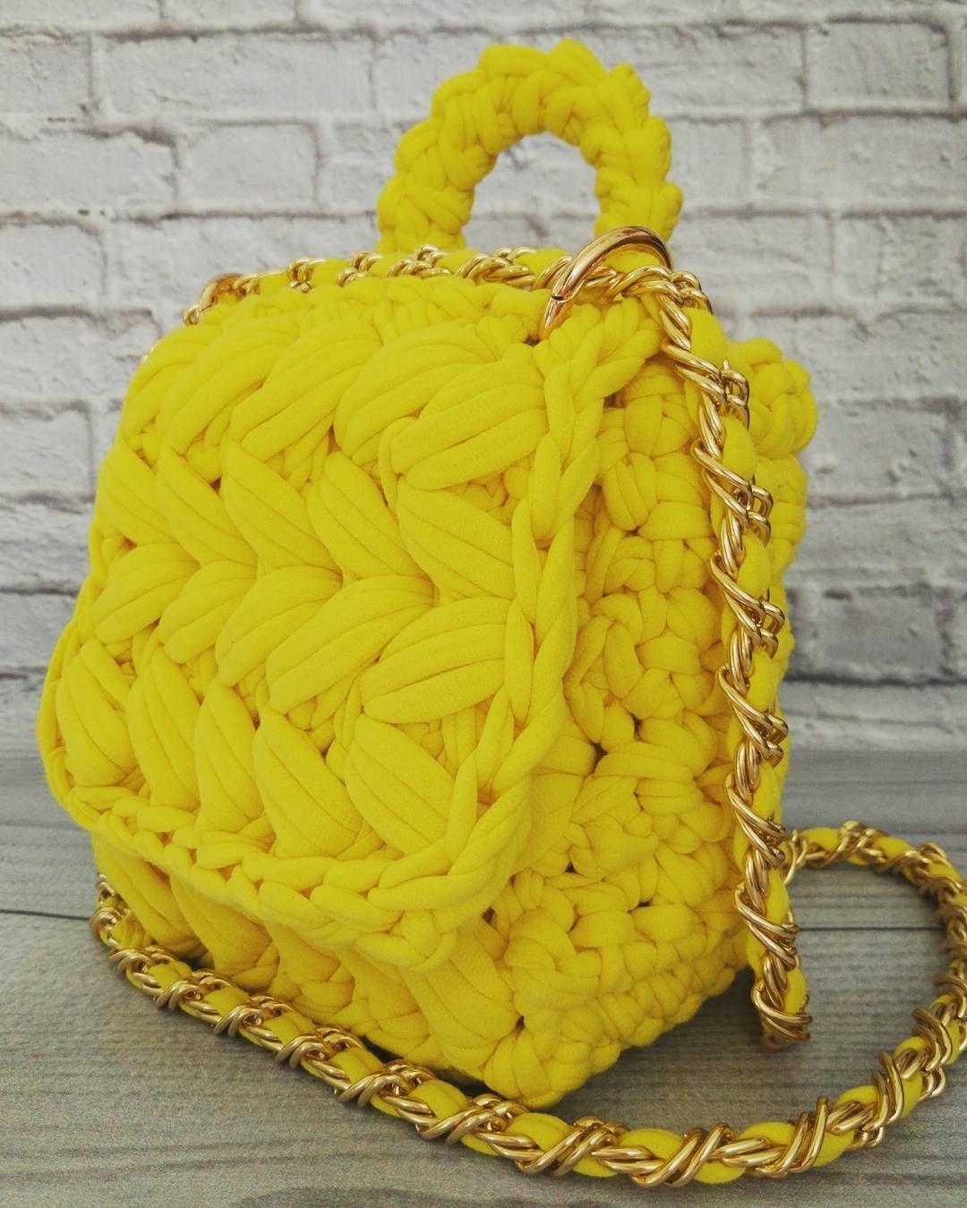 Желтая сумка крючком