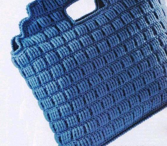Сумка синяя крючком из японских журналов