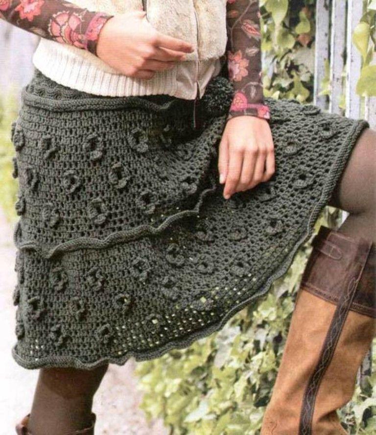 Теплая юбка крючком модель 1