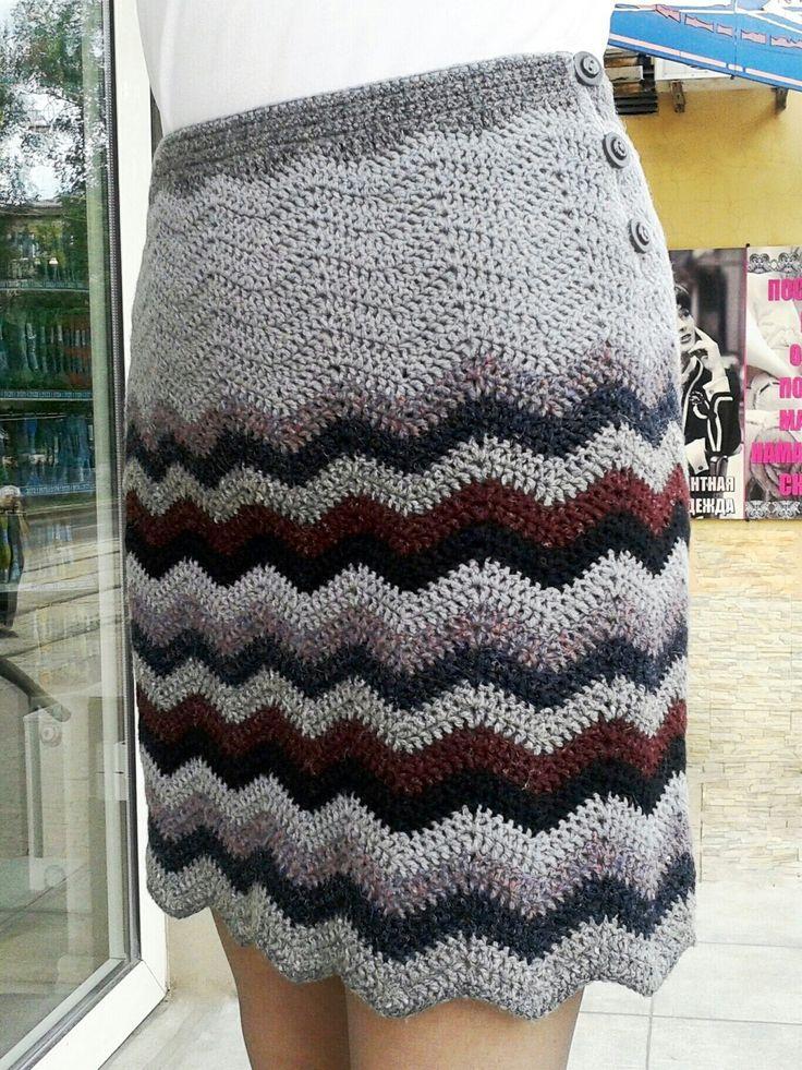 Теплая юбка крючком модель 2