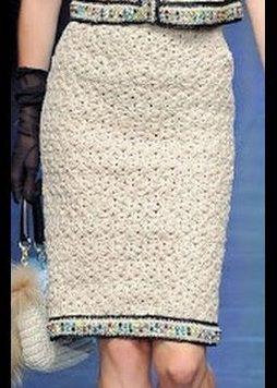 Белая теплая юбка крючком