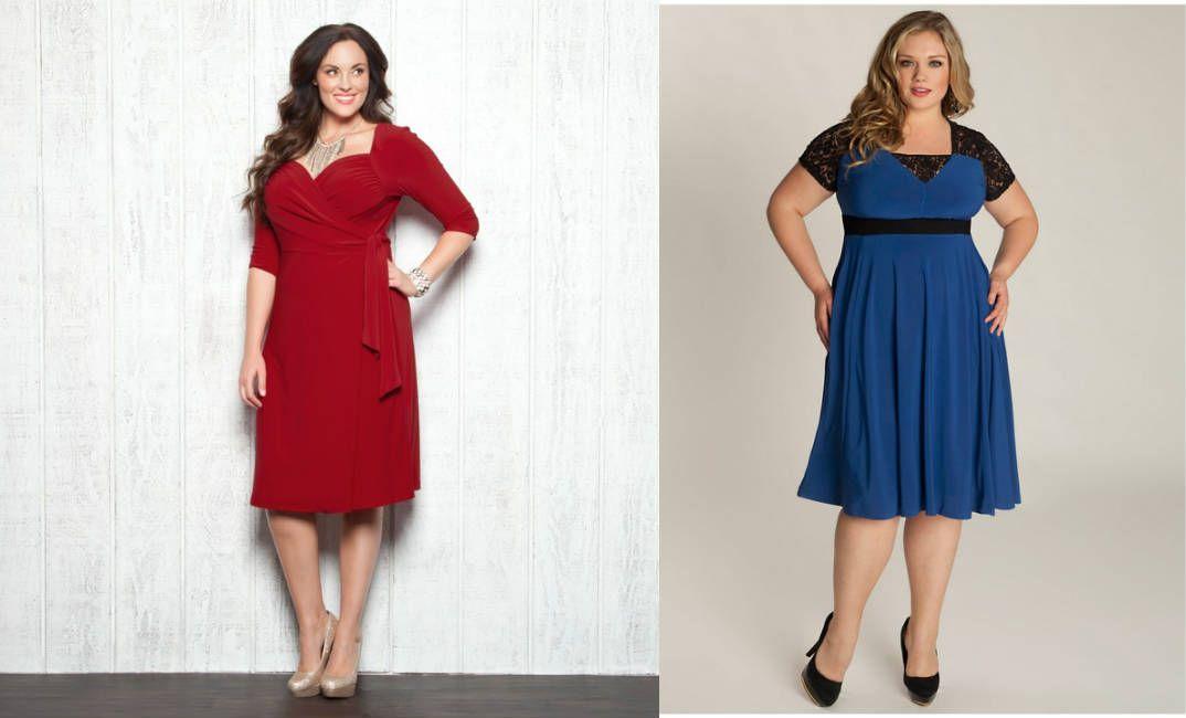 Трикотажные платья цветные для полных дам