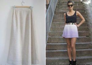 как укоротить длинную юбку