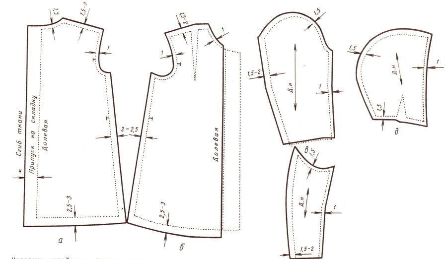 Выкройка модели пальто-халат с капюшоном