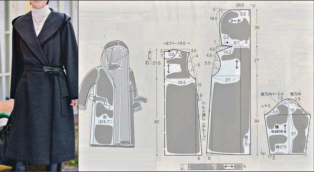 Выкройка модели пальто-халат с запахом