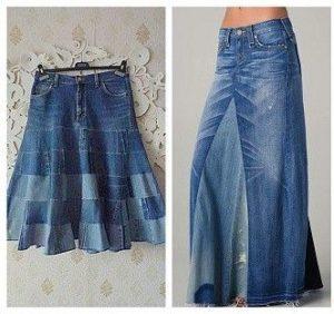 юбка бохо из старых джинсов
