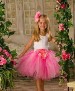 юбка из органзы для девочки с декором