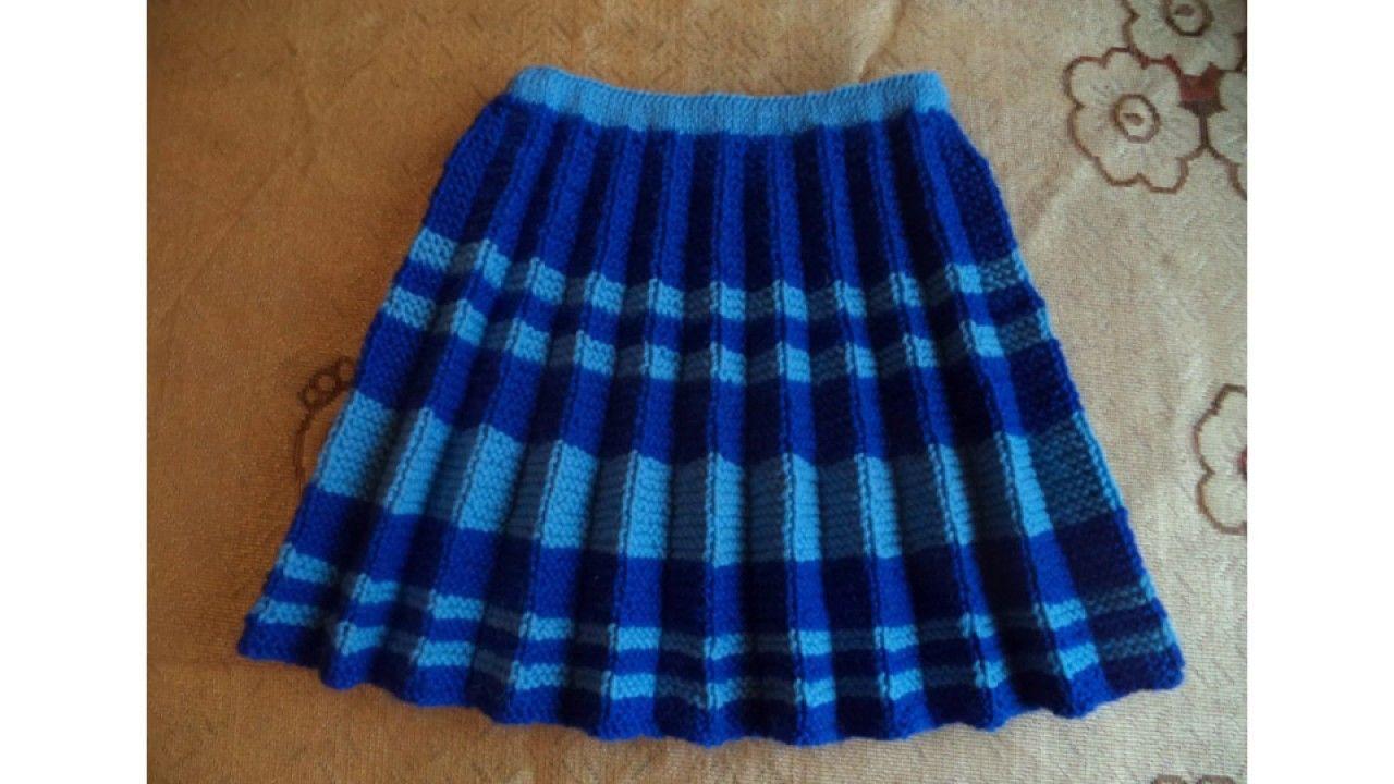 Сине-голубая юбка плиссе