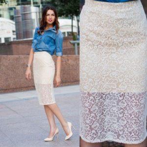 белая юбка карандаш из гипюра