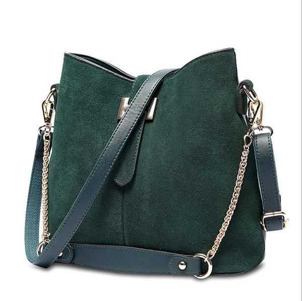 Замшевая сумка зеленая