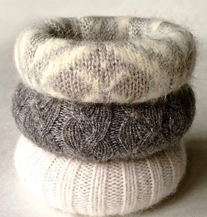 браслеты из старого свитера