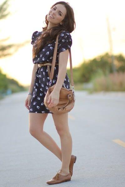 броги коричневые с платьем
