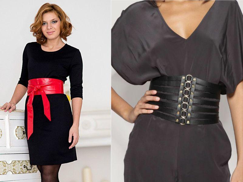 Черное платье с посом и ремнем