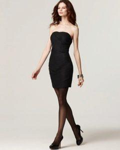 чёрные колготки под чёрное платье