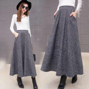 длинная юбка из твида