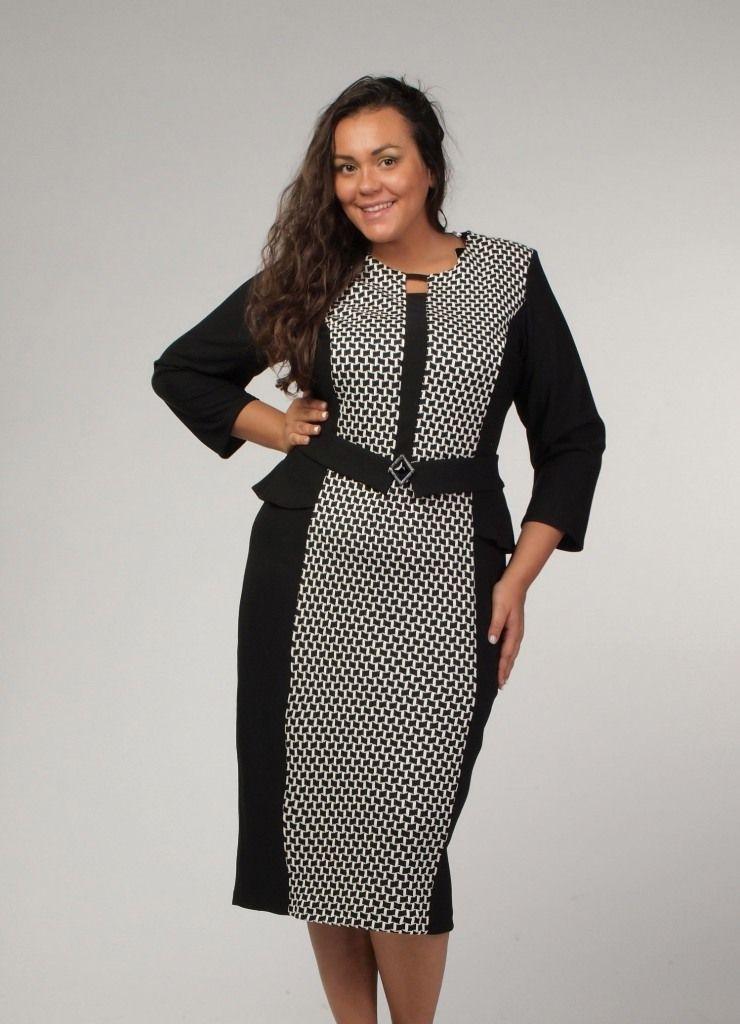 Платье для полных женщин с вертикальной полосой