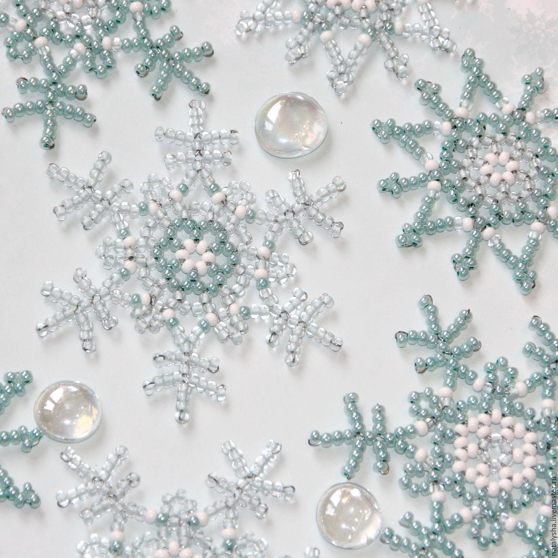 снежинки на детское платье из бисера 1