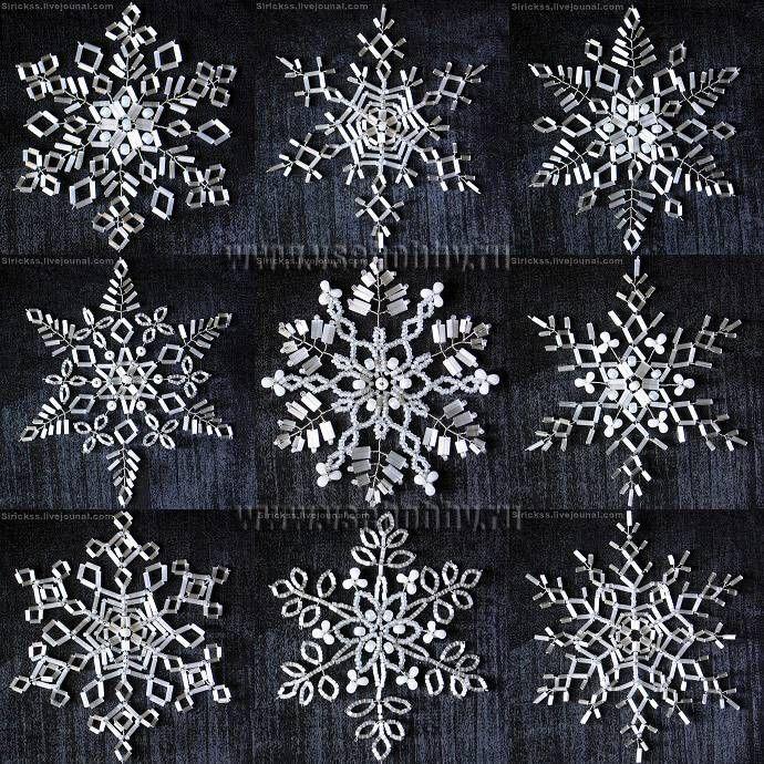 снежинки из мелких бусин