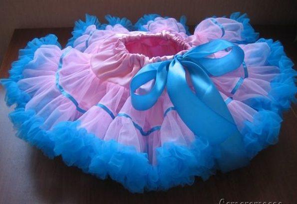 ЮБка американка розово-голубая с бантом