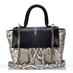 Комбинированная серо-черная сумка