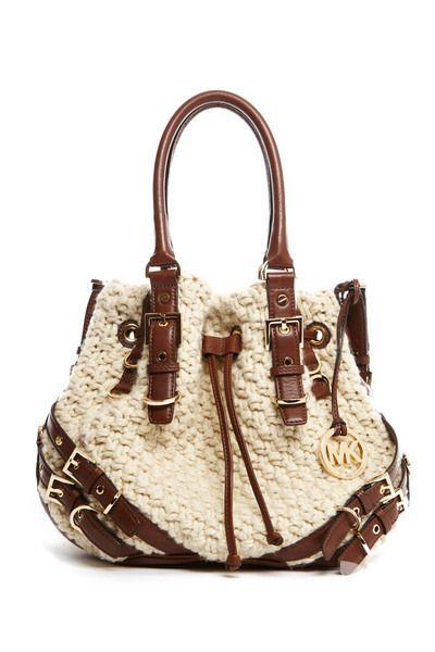 Комбинированная вязаная сумка с кожей