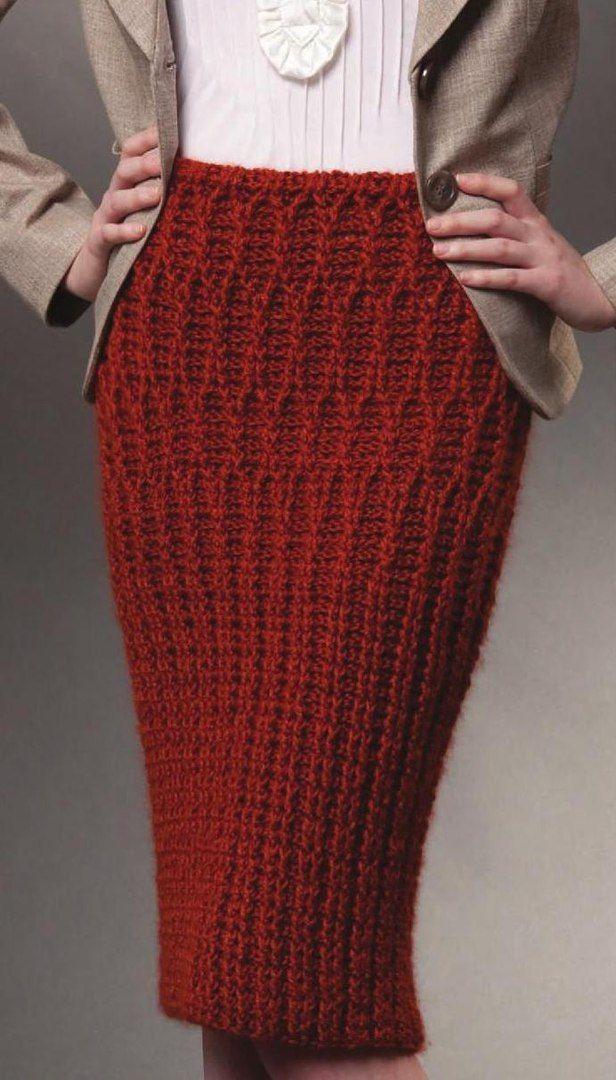 красная юбка вязаная