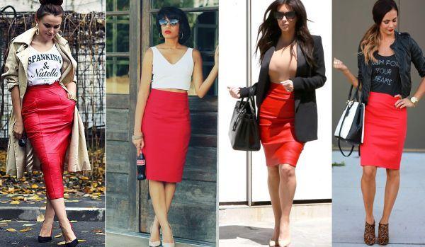 Красная юбка кожаная