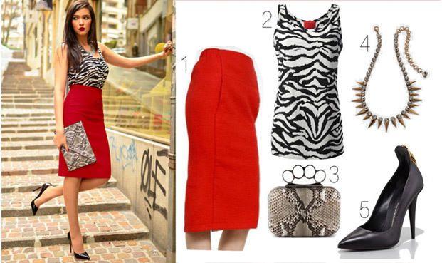 Красная юбка с аксессуарами 2