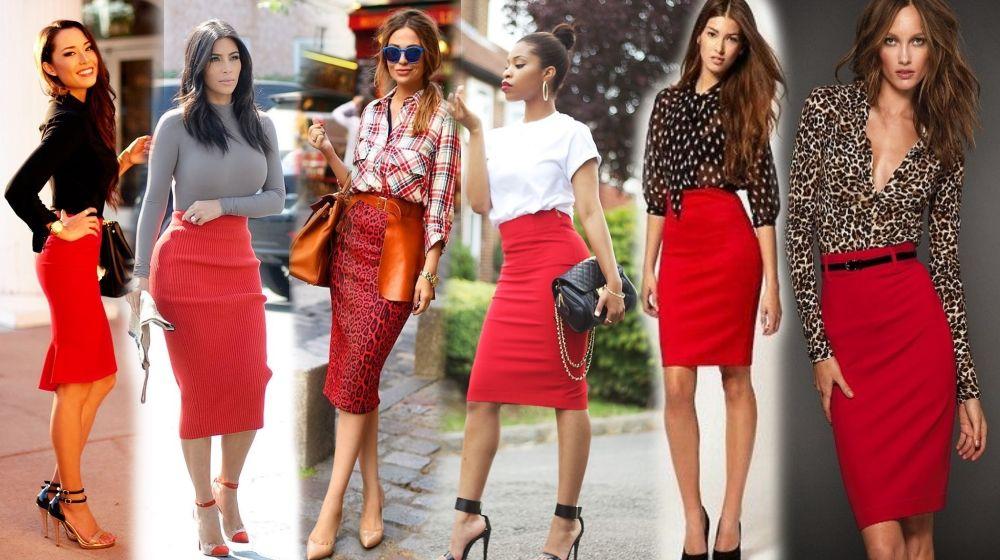 Красная юбка с разным верхом