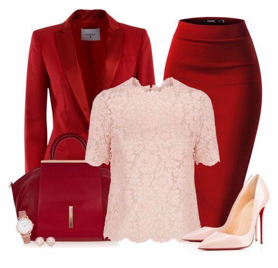 Красная юбка с аксессуарами 5
