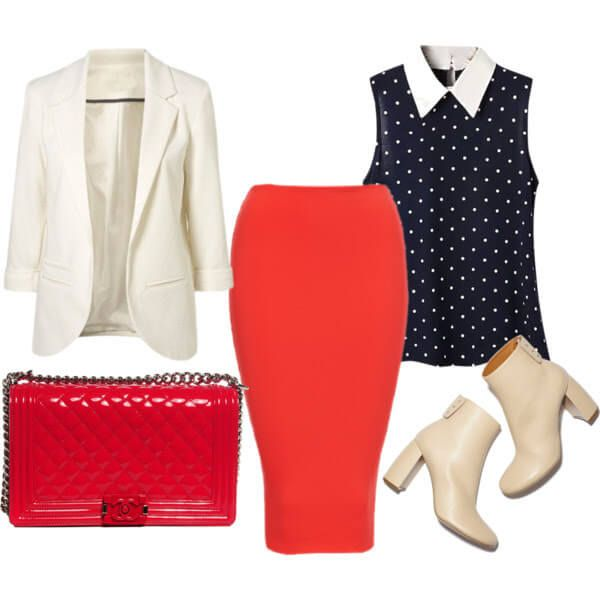 Красная юбка с пиджаком белым