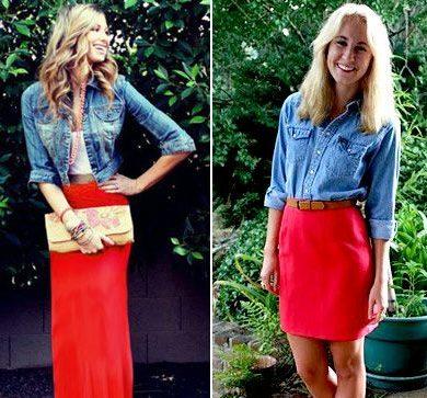 Красная юбка с джинсовой рубашкой