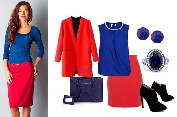 Красная юбка с аксессуарами
