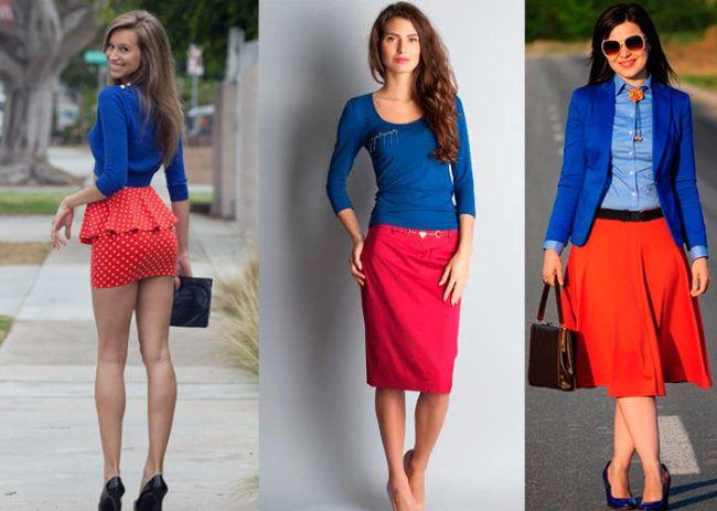 Красная юбка с синим верхом