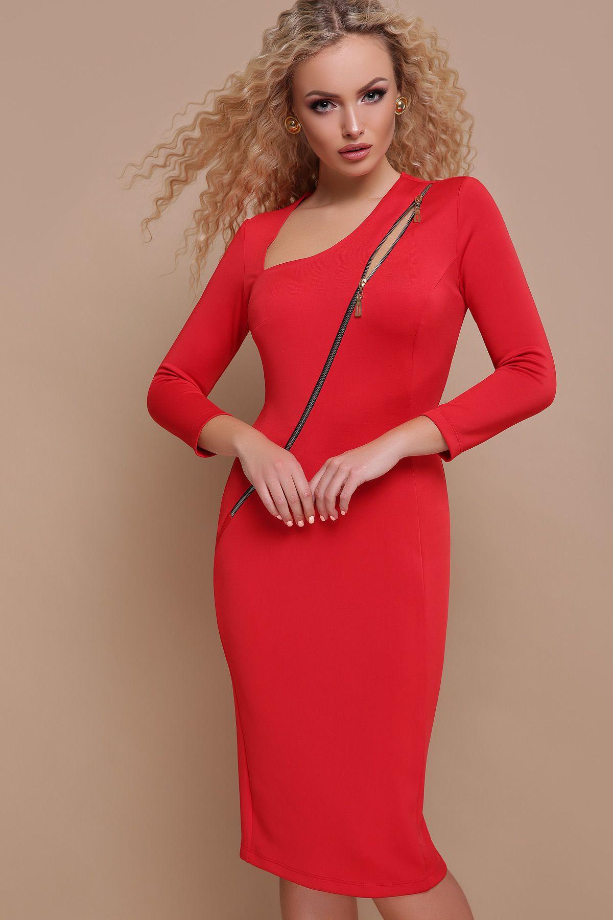 Красное платье с молнией