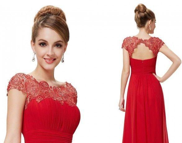 Красное платье с кружевным лифом