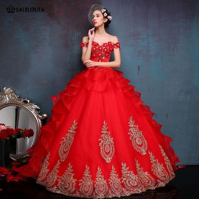 Красное свадебное платье с вышивкой