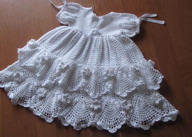 Крестильное платье с цветочками