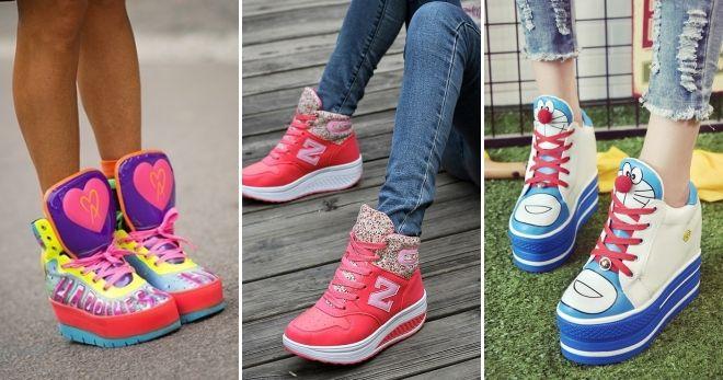 Красные высокие кроссовки для девушек