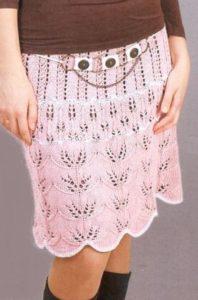 летняя вязаная прямая юбка
