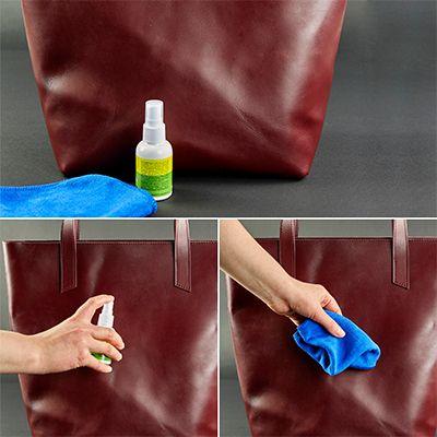 Чистка сумки с магазинными средствами