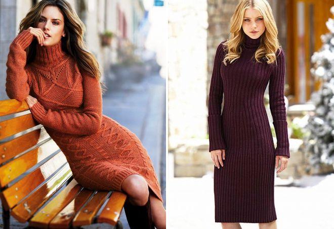 модели вязанных платьев