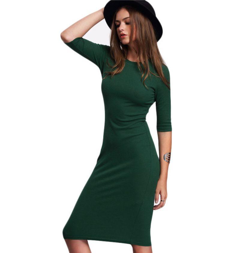 Зеленое платье обтягивающее