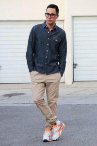 мужские белые кроссовки  с чиносами