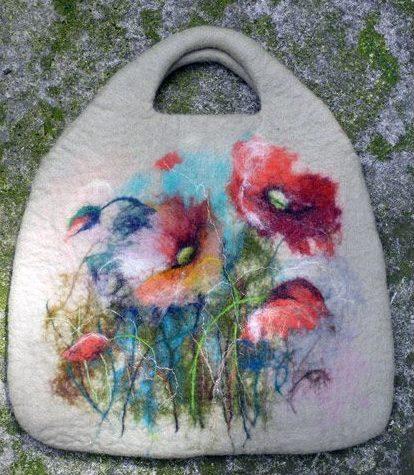 Сумки из войлока рисунок цветы