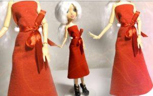 Красное платье из бумаги для куклы